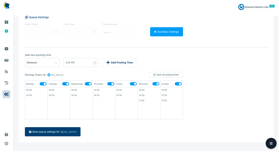 The advanced plan enables you to customize auto-post settings for your curated content.