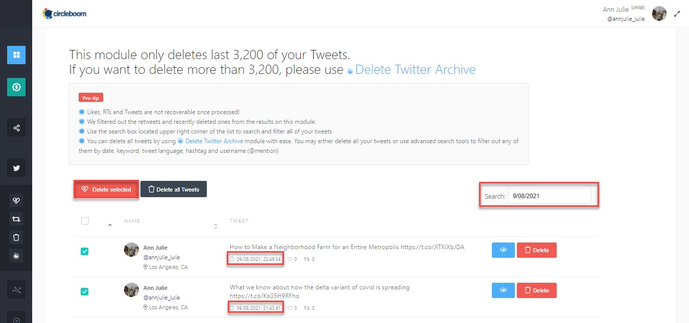 Dont lose a minute and mass delete tweets by date!