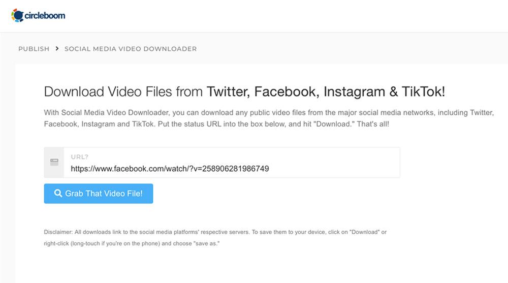 Copy & paste the Facebook video tweet link from Facebook to Circleboom