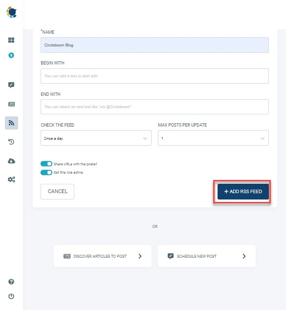 RSS feed to Twitter, RSS feed to Facebook and RSS to LinkedIn can be done easily with Circboom Publish! Choose whatever you need