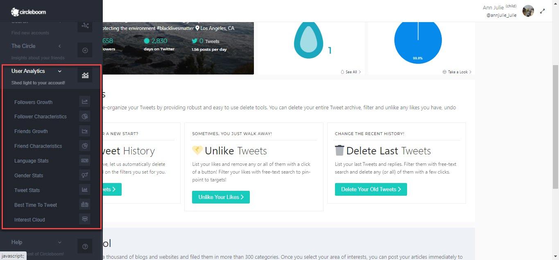 Get Twitter follower analytics via the User Analytics feature of Circleboom Twitter.