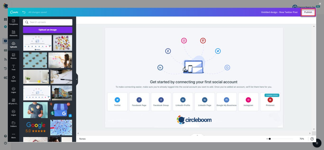 you can easily auto tweet with Circleboom Publish!