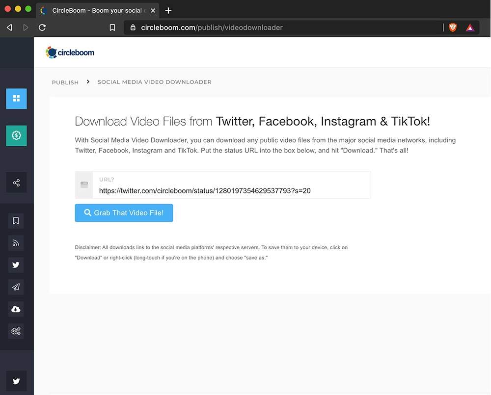 Paste the Twitter video tweet link from Twitter to Circleboom